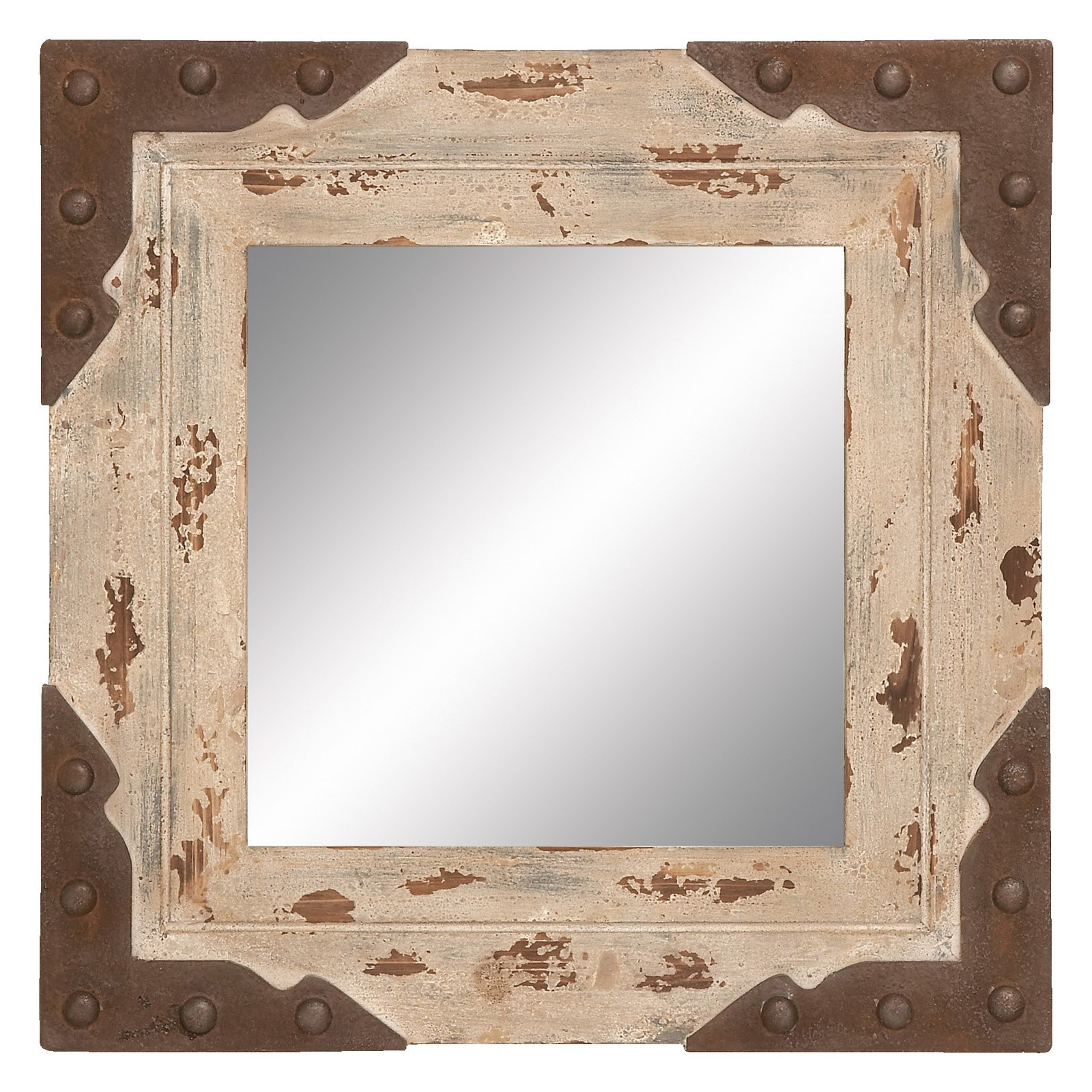 Decmode Wood and Metal Mirror, Multi Color