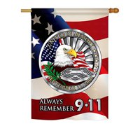 "Breeze Decor H111063-BO Always Remember Americana Patriotic Impressions Decorative Vertical 28"" x 40"" Double Sided Hous"