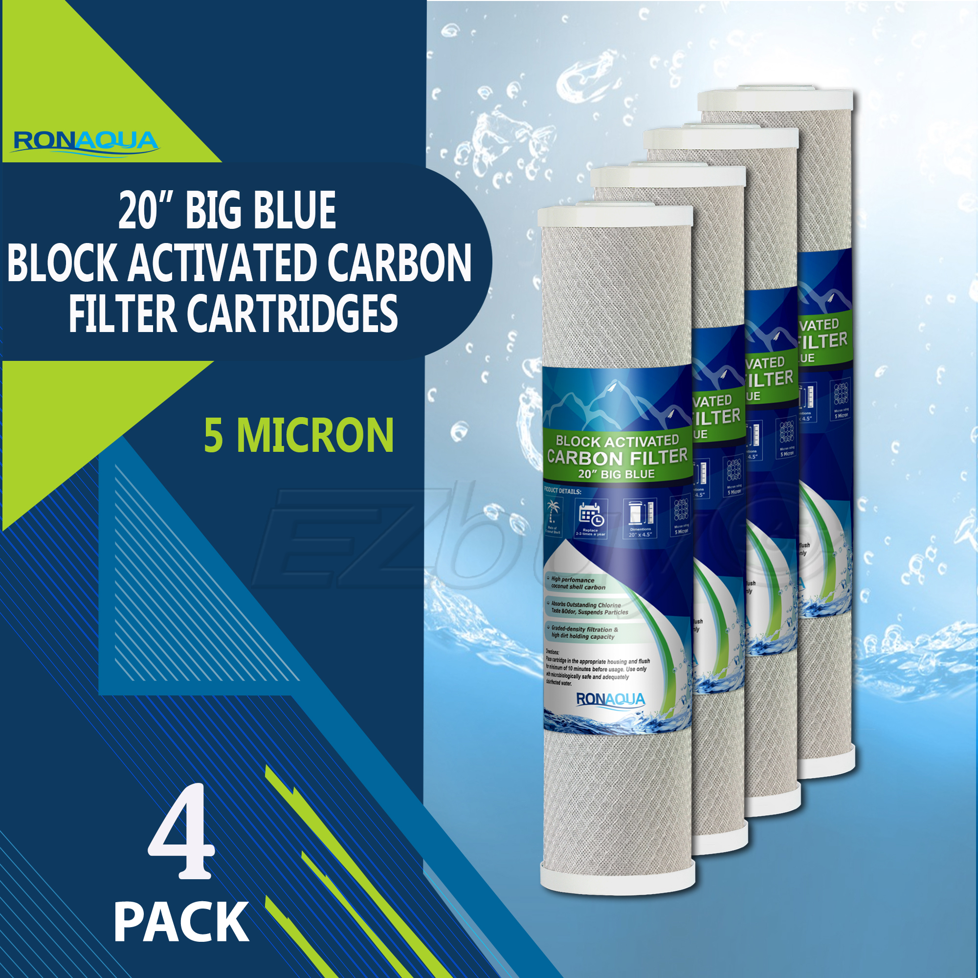 """Big Blue CTO Carbon Block Water Filters 4.5"""" x 20"""" Whole House Cartridges by Ronaqua (4 Pack)"""