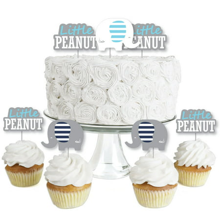Elegant Birthday Cakes (Blue Elephant - Dessert Cupcake Toppers - Boy Baby Shower or Birthday Party Clear Treat Picks - Set of)