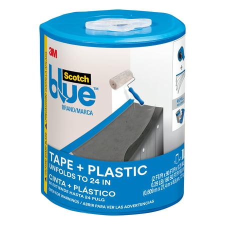 ScotchBlue Tape + Plastic with Dispenser, 2 ft x 90