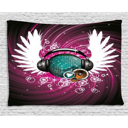 Popstar Party Tapestry, Disco Ball with Headphones and Angel Wings Vibrant Swirl with Circles, Wall Hanging for Bedroom Living Room Dorm Decor, 60W X 40L Inches, Magenta Black Teal, by Ambesonne