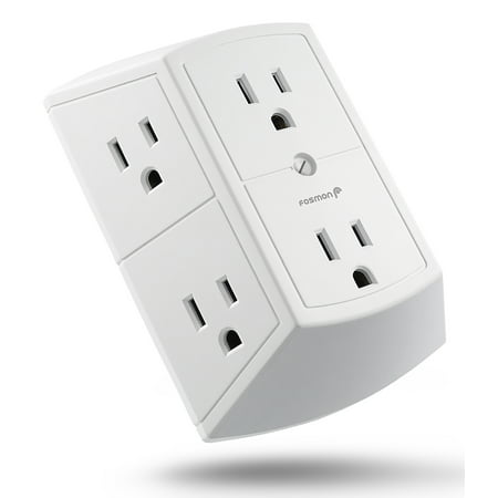 6 Outlet Wall Adapter Tap, Fosmon ETL Listed 15A 125VAC 60Hz 1875Watts 3 Sided Grounded Indoor AC Plug - White