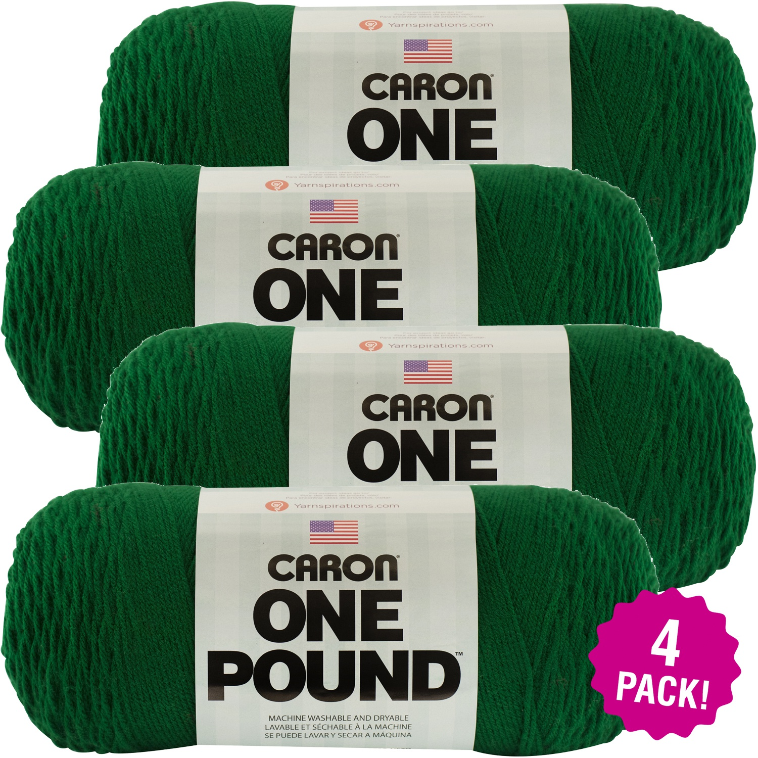 Caron One Pound Yarn - Kelly Green, Multipack of 4