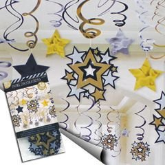 Amscan Hollywood Movie Themed Star Studded Hanging Swirl Decoration (30 Piece), Black/Gold/Silver, 17.5 x 9.5