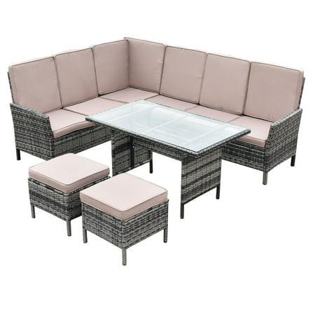 5pcs Patio Wicker Rattan Furniture Set Sofa Ottoman Garden ...