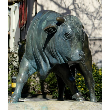 Peel-n-Stick Poster of Bull Sculpture Bronze Symbol Animal Figure Poster 24x16 Adhesive Sticker Poster (Bull Animal Figure)