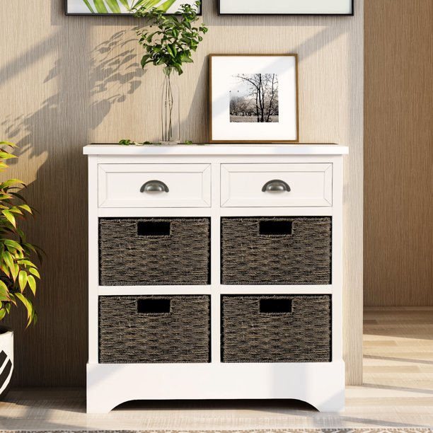 Kitchen Storage Buffet Cabinet Wooden Rustic With 2 Drawers 4 Classic Fabric Basket Sideboard Cupboard Accent Console Table For Living Room Bedroom Entryway White W10125 Com - White Console Table With Storage Baskets