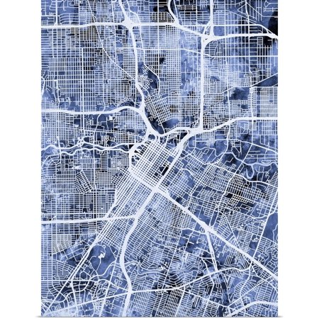 Great BIG Canvas | Rolled Michael Tompsett Poster Print entitled Houston Texas City Street Map ()