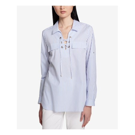 CALVIN KLEIN Womens Blue Striped 3/4 Sleeve V Neck Wear To Work Top Size S