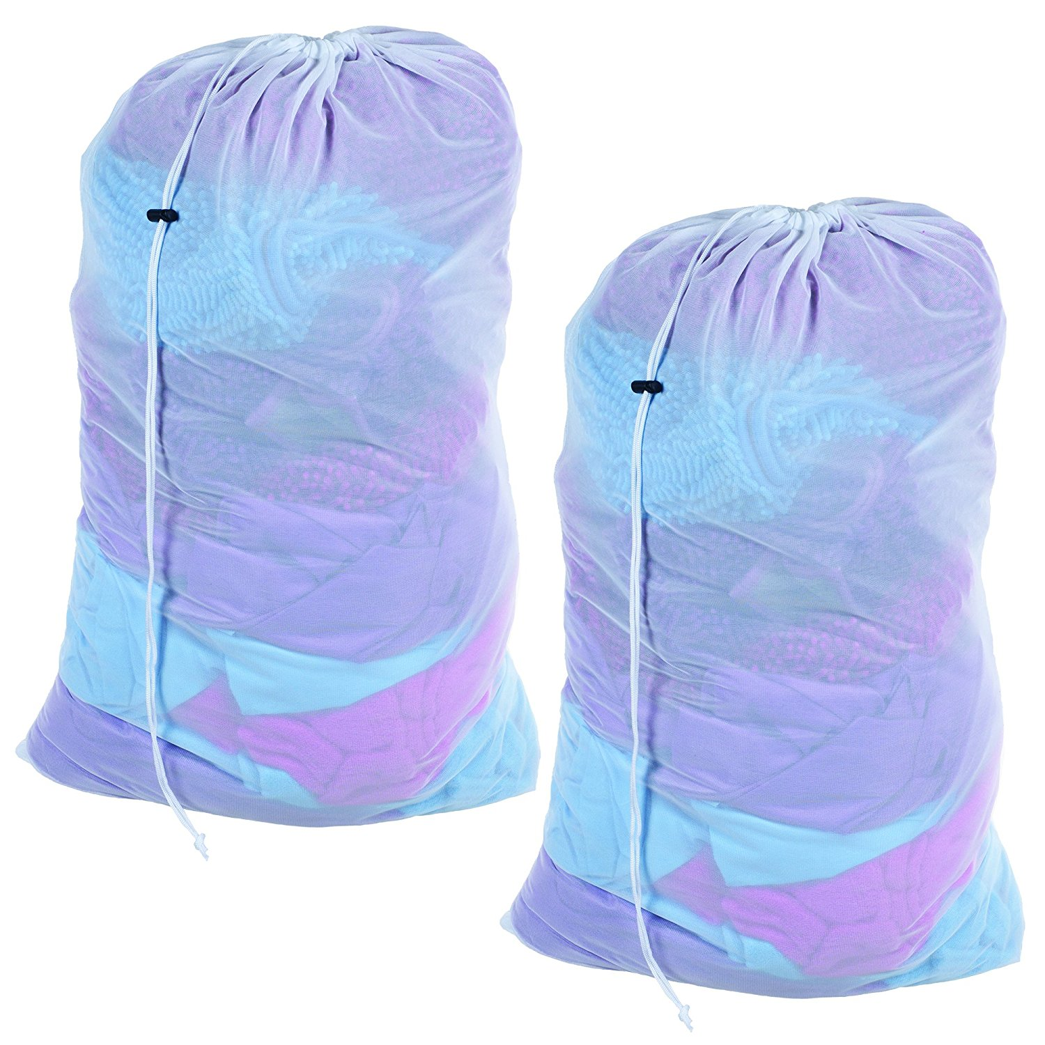 Mesh Laundry Bags- Set of 2- Heavy Duty Mesh Drawstring Breathable Laundry Bag for College Dorms and Apartments- By By Everyday Home Ship from US