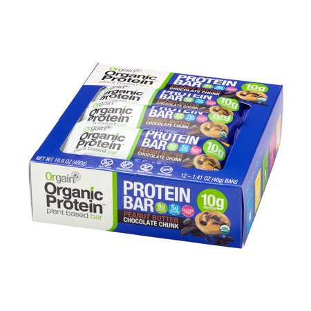Orgain Organic Plant Based Protein Bar, Peanut Butter Chocolate Chunk, 10g Protein, 12