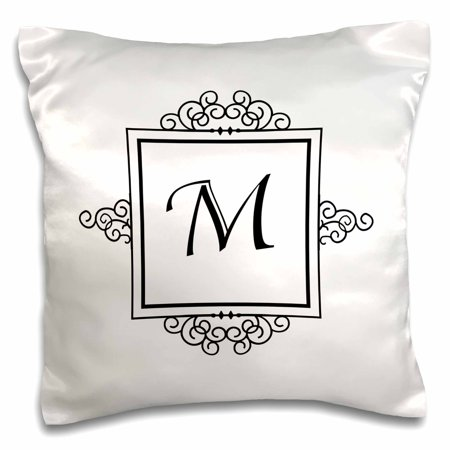 3dRose Initial letter M personal monogrammed fancy black and white typography elegant stylish personalized - Pillow Case, 16 by 16-inch ()