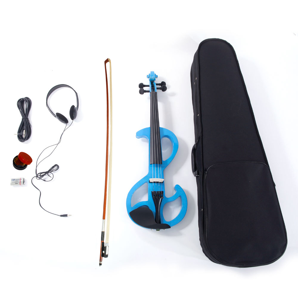 Zimtown 4/4 Blue Electric Silent Violin Fiddle with Accessories Kit Case Full Size