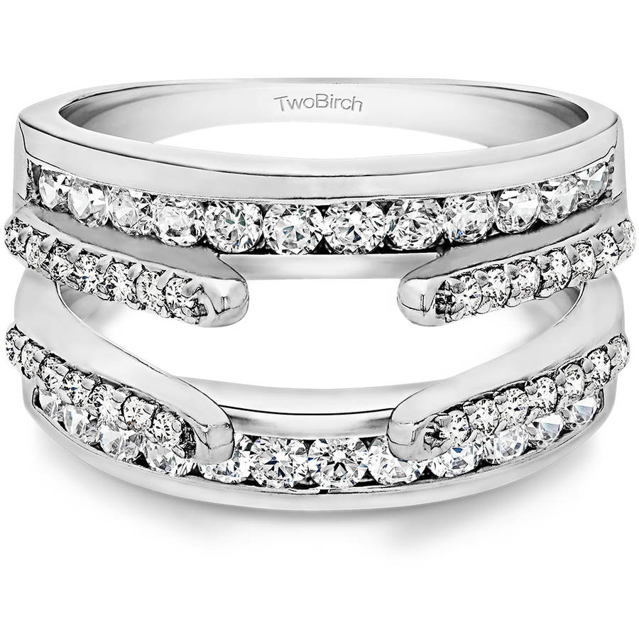 Personalized TwoBirch Women's Combination Cathedral and Classic Ring Guard