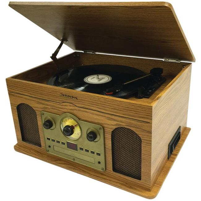 Studebaker SB6080 5-in-1 Stereo Music System - Wooden Grain, Brown