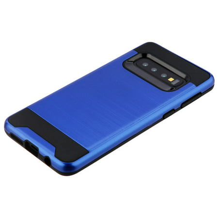 Samsung Galaxy S10 Plus, S10+ (6.4 inch) Phone Case Heavy Duty Brushed Slim Hybrid Shock Proof Dual Layer Armor Defender Protective Rubber Cover BLUE Case for Samsung Galaxy S10+ / -
