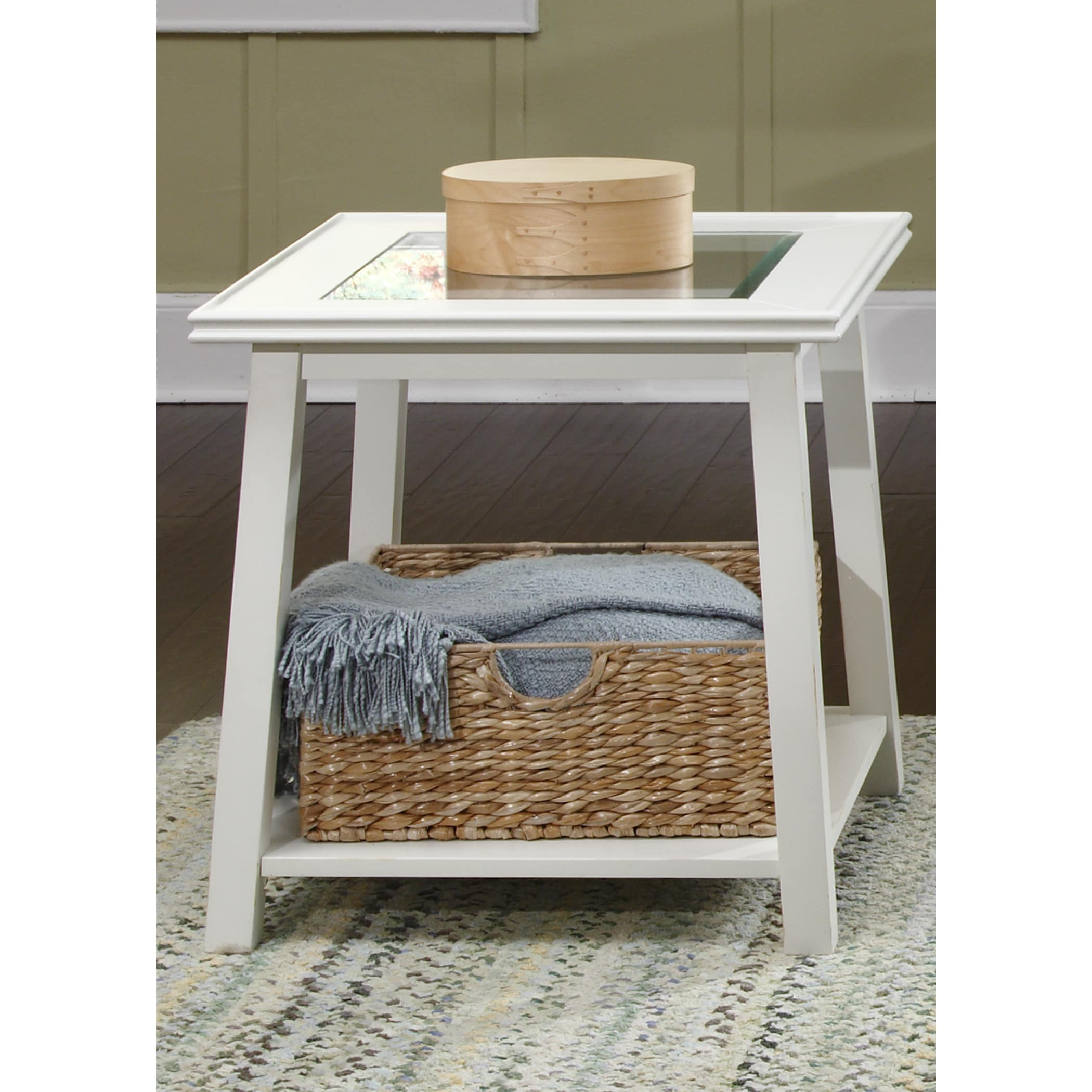 Liberty White Linen Glass Top Square End Table