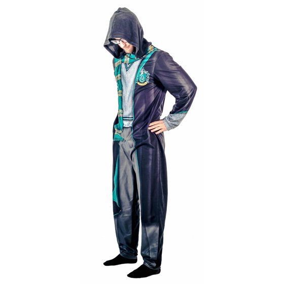 Harry Potter Slytherin Union Suit Costume Pajama with Hood - Walmart.com 4ec8cc5a3