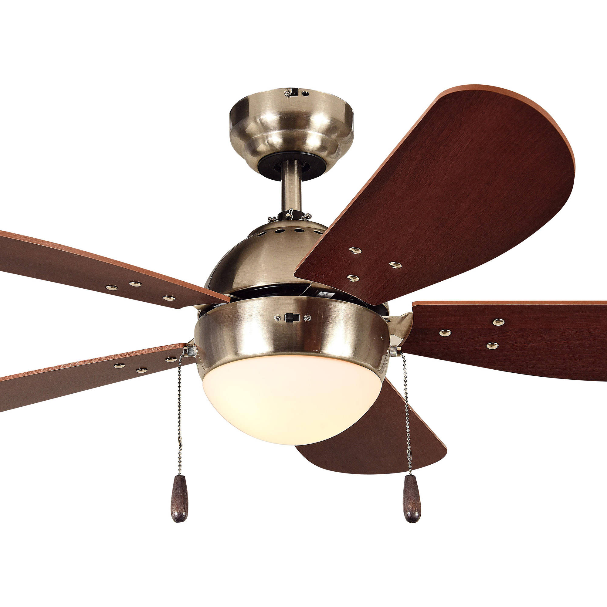 "Litex Industries Paxon 42"" Dual Mount Ceiling Fan Satin Nickel"