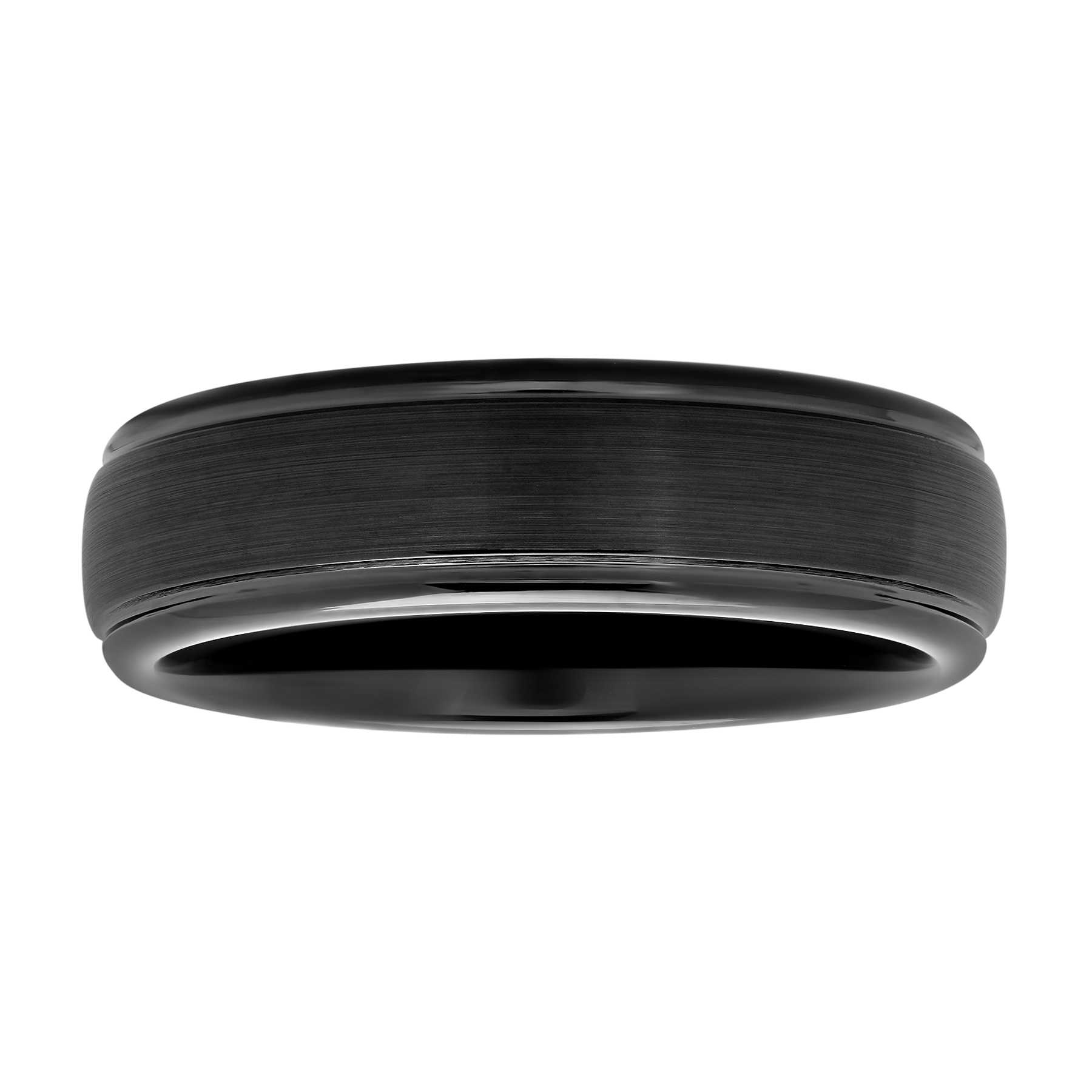 Men's Black IP Tungsten 6MM Domed Wedding Band - Mens Ring