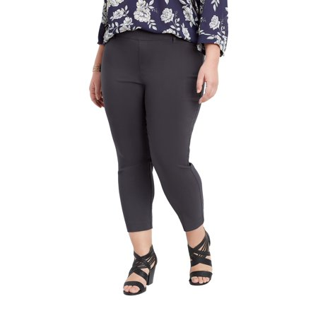 3a83cf83f3a maurices - Plus Size Gray Pull On Bengaline Cropped Pant - Walmart.com