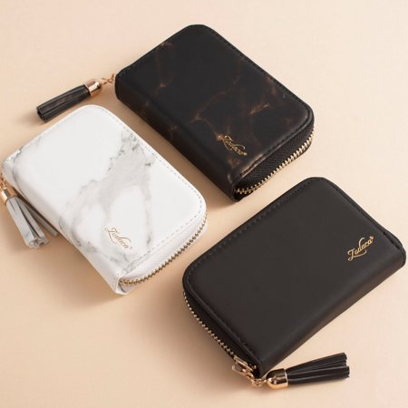 Card Holder Wallet for Women by Zodaca Fashion Small Leather Card Holder Zip Coin Pouch Purse Cluth Mini Wallet 10-Slot for ID Credit Card - White Marble - image 8 de 10