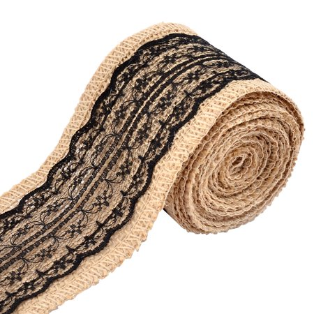 Wedding Lace Decor DIY Handcraft Burlap Ribbon Strap Rope Roll Black 2.2 Yards