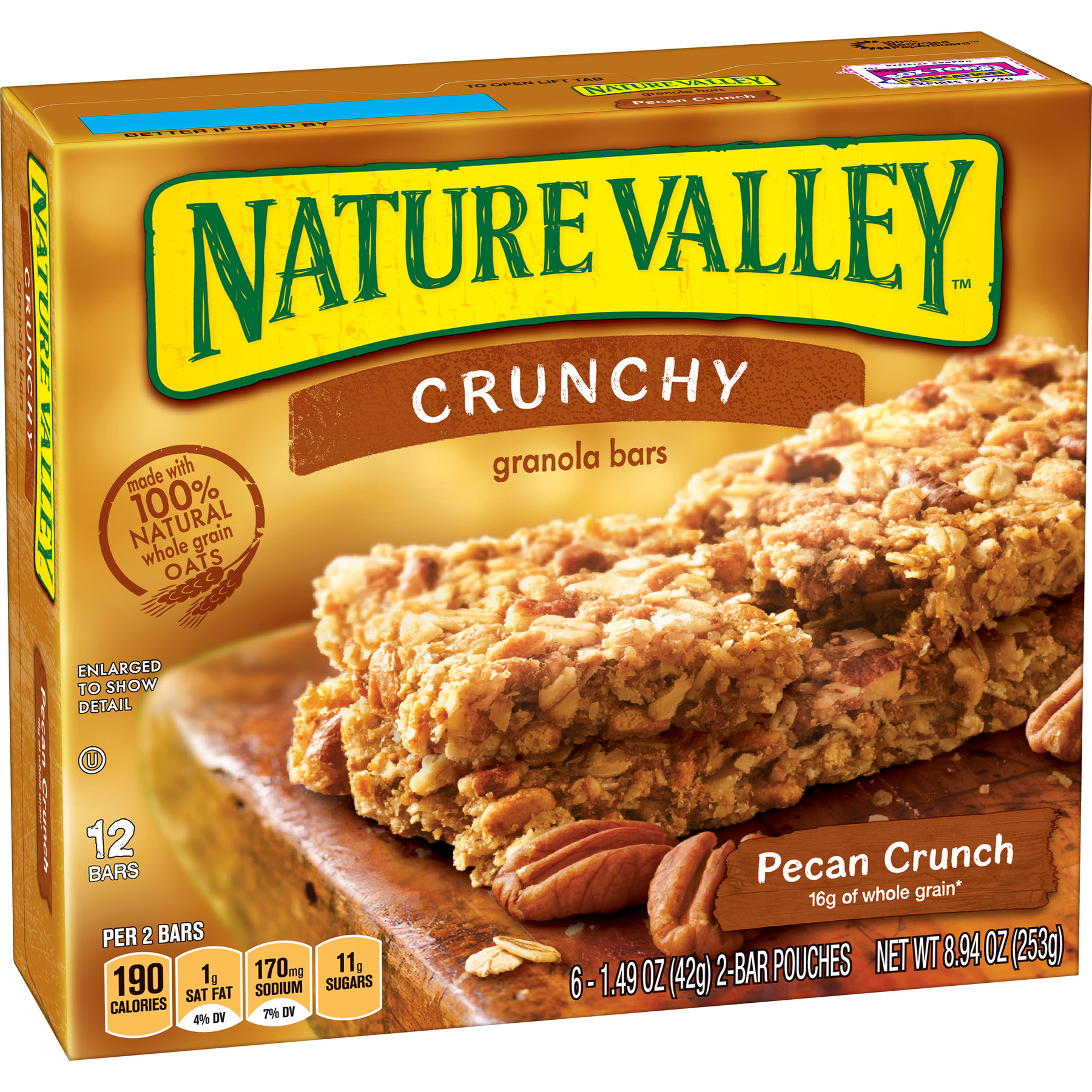 Nature Valley Granola Bars Crunchy Pecan Crunch 6 ct, 8.94 oz Box