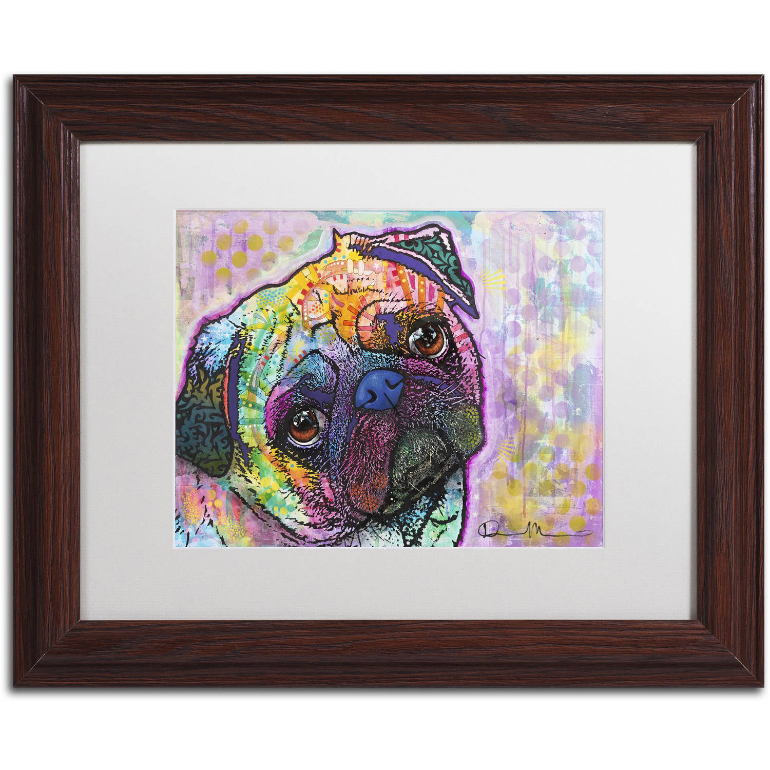 "Trademark Fine Art ""Pug Love"" Canvas Art by Dean Russo, White Matte, Wood Frame"