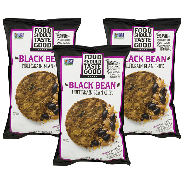 (2 Pack) Food Should Taste Good Black Bean Multigrain Chips, 5.5 oz