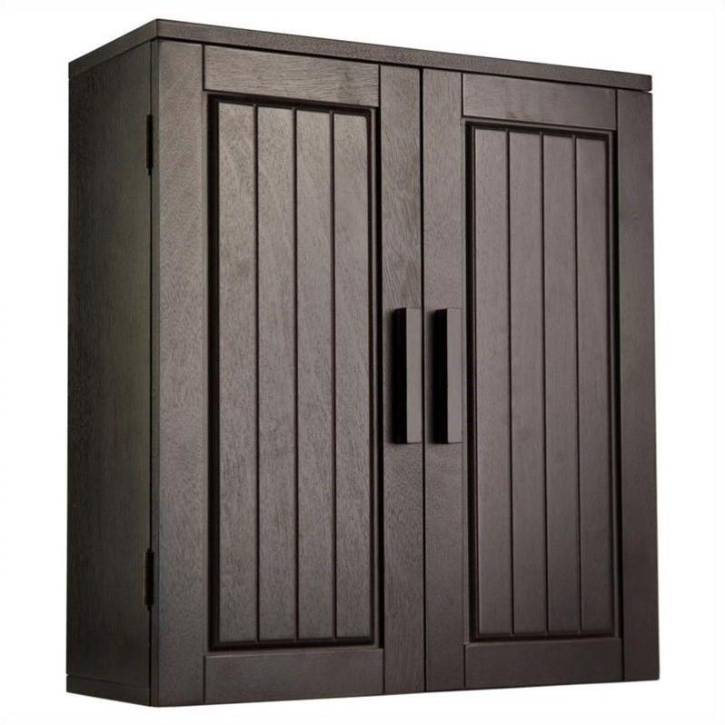 Elegant Home Fashions Catalina 2-Door Wall Cabinet in Dark ...
