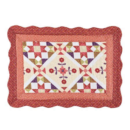 - Aubree Geometric Florals Pillow Sham with Light Diamond Patch Patterns, Quilted Stitching, Double Bordered Scalloped Edges, Red, Peach, Burgundy