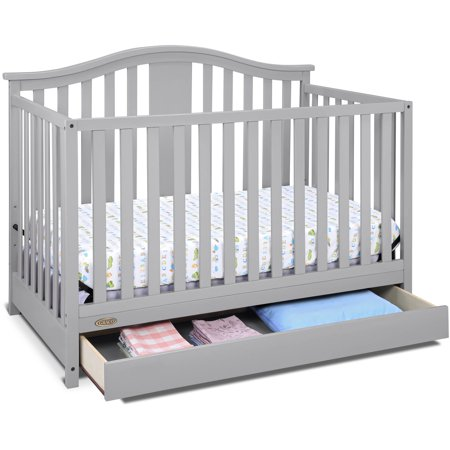 Graco Solano 4 in 1 Convertible Crib with Drawer Pebble Gray 1 Drop Side Convertible Crib