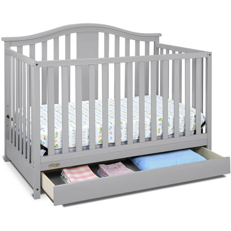 1 Iron Crib - Graco Solano 4 in 1 Convertible Crib with Drawer Pebble Gray