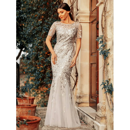 Ever-Pretty Womens Fitted Sequins Long Wedding Party Mother of the Groom Dresses for Women 07707 Silver (Best Neckline For Large Bust Wedding Dress)