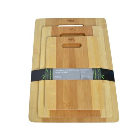 Vina 3 Piece Premium Bamboo Cutting Boards Set Kitchen Chopping board in Small, Medium & Large, Eco-friendly,