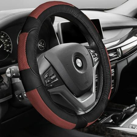 Premium Full Grain Leather - FH GROUP Premium Genuine Full Grain Leather Steering Wheel Cover, Red and Black