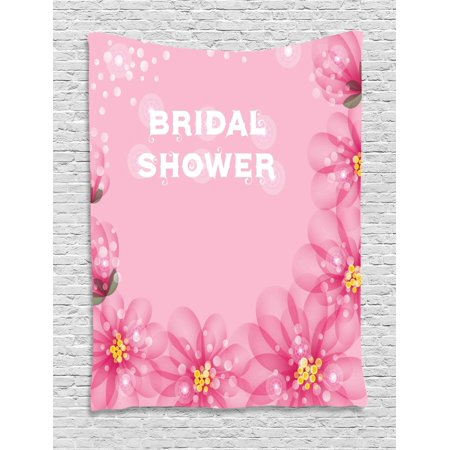 Bridal Shower Decorations Tapestry, Asian Flowers with Abstract Petals and Dots Image, Wall Hanging for Bedroom Living Room Dorm Decor, 60W X 80L Inches, Hot Pink and Light Pink, by - Asian Decorations