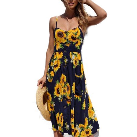 - Women Holiday Strappy Floral Maxi Dresses Summer Beach Party Midi Swing Sundress