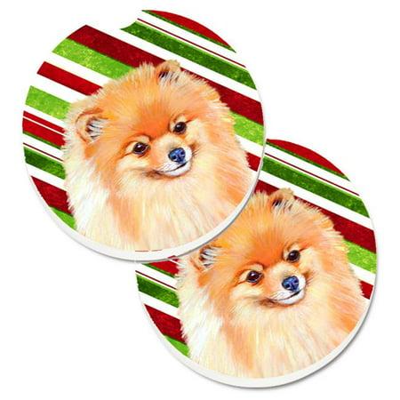 Pomeranian Candy Cane Holiday Christmas Set of 2 Cup Holder Car Coaster - image 1 de 1