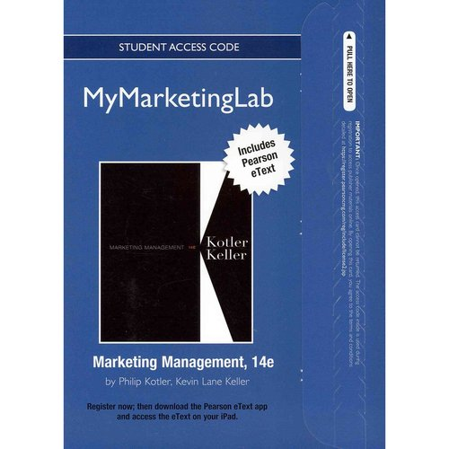 Mymarketinglab with Pearson Etext -- Access Card -- For Marketing Management