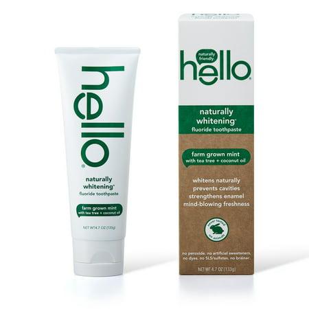 Hello Naturally Whitening Fluoride Toothpaste, Vegan & SLS Free, Farm Grown Mint With Tea Tree Oil & Coconut Oil 4.7oz Daily Fluoride Anticavity Mint Toothpaste
