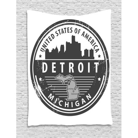 Detroit Decor Tapestry  Damaged Old Stamp Of Michigan Usa With City Map Location Tourism Icon  Wall Hanging For Bedroom Living Room Dorm Decor  60W X 80L Inches  Black White Grey  By Ambesonne