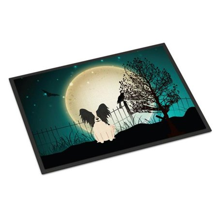 Carolines Treasures BB2266JMAT Halloween Scary Papillon Black White Indoor or Outdoor Mat, 24 x 0.25 x 36 in. - image 1 of 1