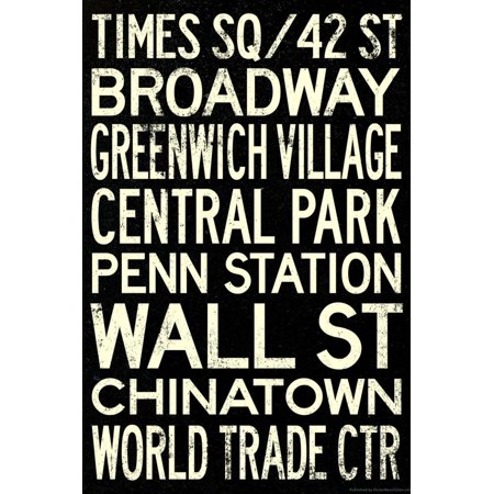 New York City Subway Style Vintage Retro Metro Travel Print Wall Art (Soho-shopping New York)