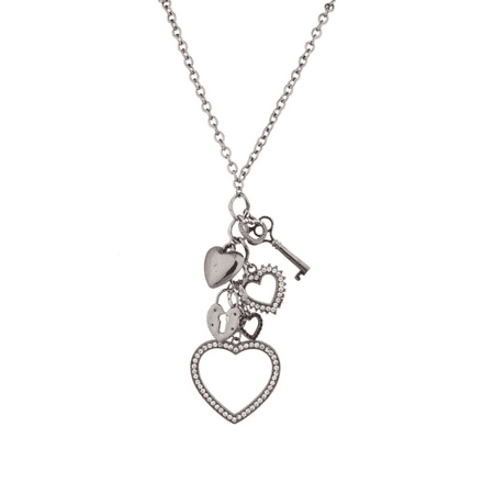 - Lux Accessories Long Chain Necklace with Dangle Heart Key Lock Charms