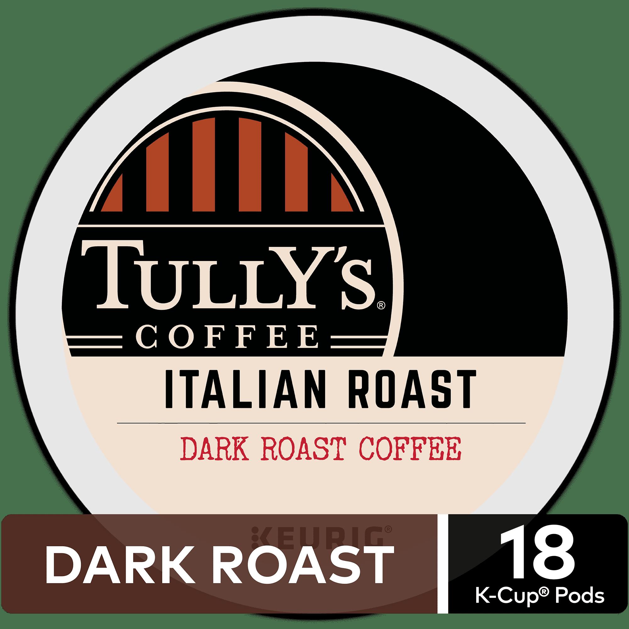 Tully's Coffee Italian Roast, Keurig K-Cup Pods, Dark Roast, 18 Count