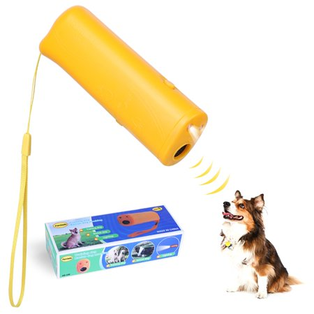 LED Ultrasonic Dog Repeller and Trainer Device 3 in 1 Anti Barking Stop Bark Handheld Dog Training Device,Yellow