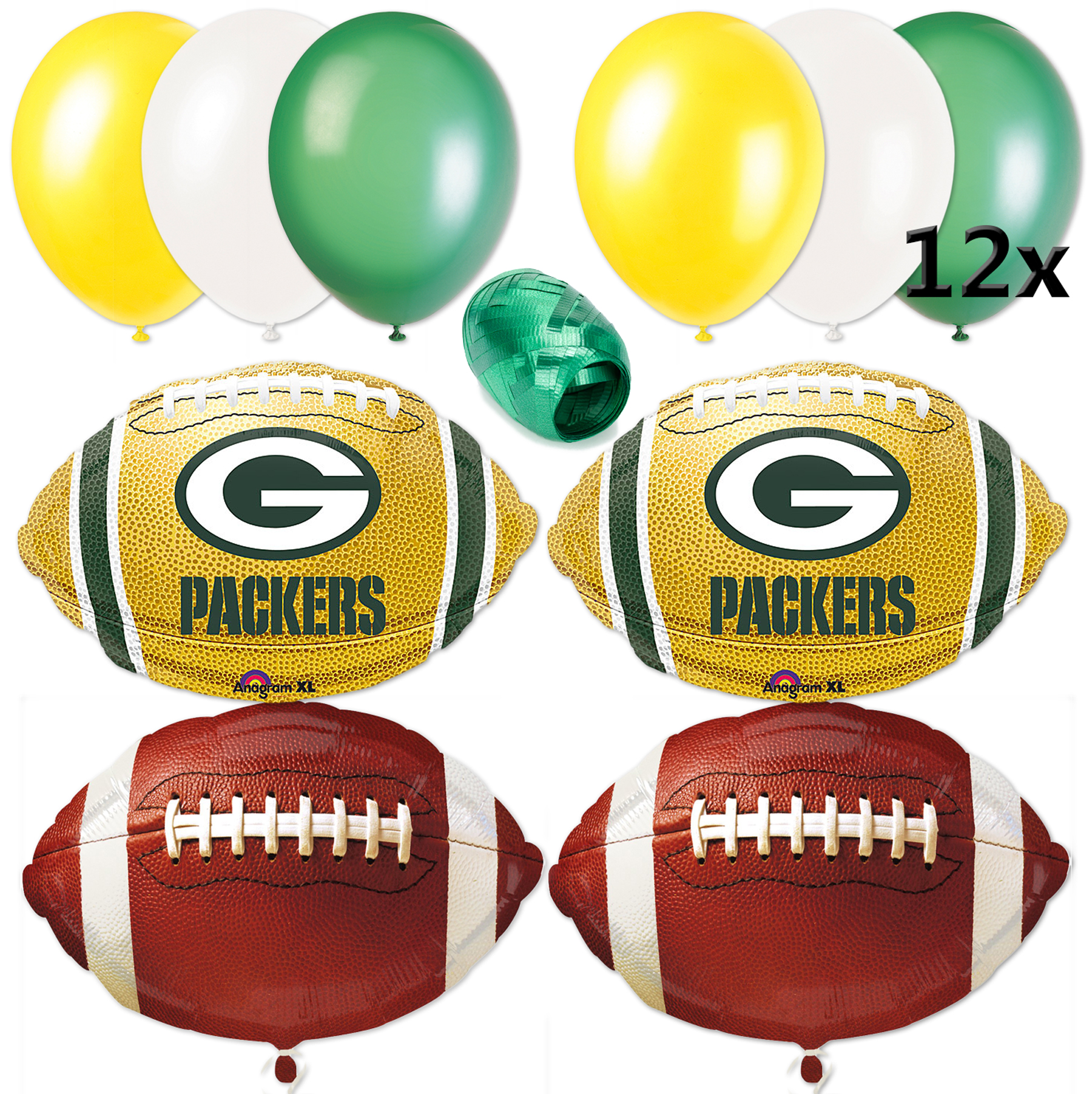 Green Bay Packers NFL Playoffs Football Balloon Decorating Party Pack 17pc